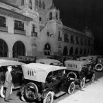 Cars parked outside the Herald Examiner building before it was a filming location